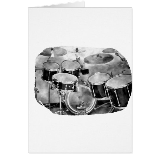 Drumset Black and White Photograph Design Card