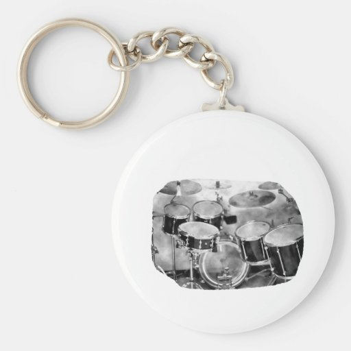 Drumset Black and White Photograph Design Basic Round Button Key Ring