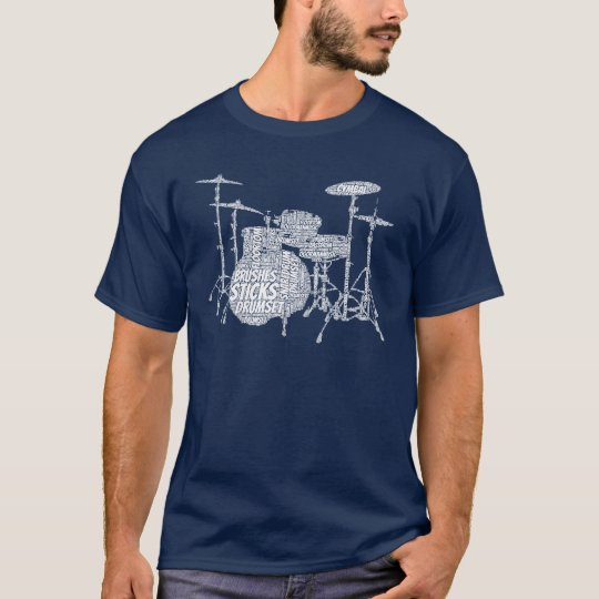 Drumset Shaped Word Art White Text T-Shirt