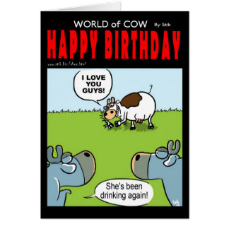 Drunk Birthday Cow Cards
