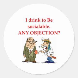 drunk classic round sticker