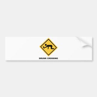 Drunk Crossing Sign Bumper Sticker
