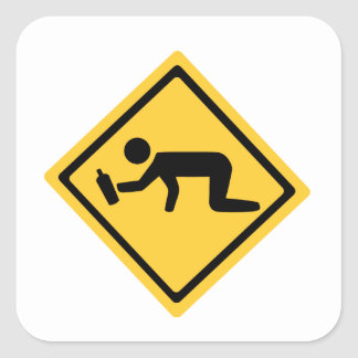 Drunk Crossing Square Sticker