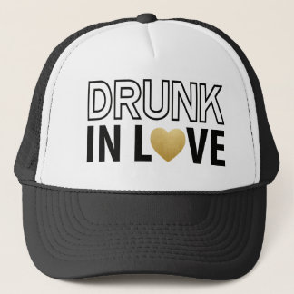 Drunk in Love Black & Gold Heart Trucker Hat