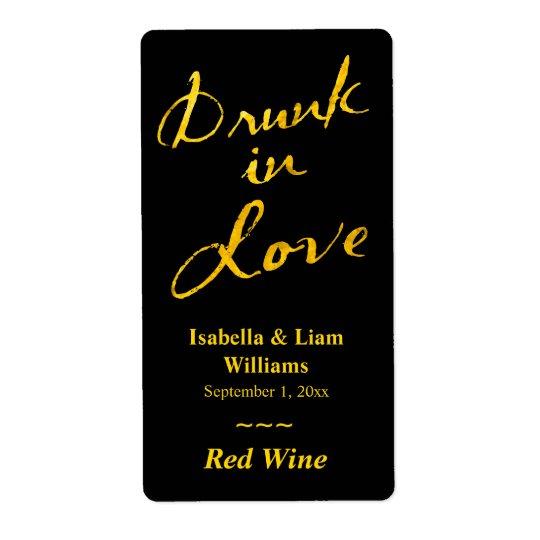 Drunk in Love Wine Label - gold & black Shipping Label