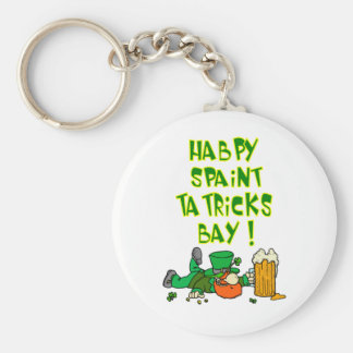 Drunk Leprechaun Basic Round Button Key Ring