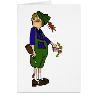Drunk Oktoberfest Man with Beer & Keys Card