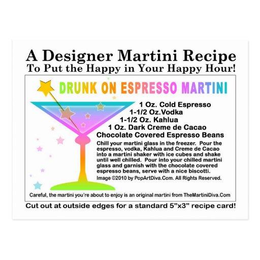 Drunk on Expresso Martini Recipe Postcard