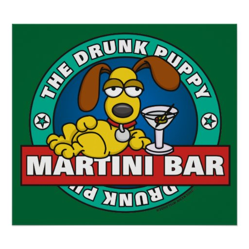 Drunk Puppy Martini Bar Poster