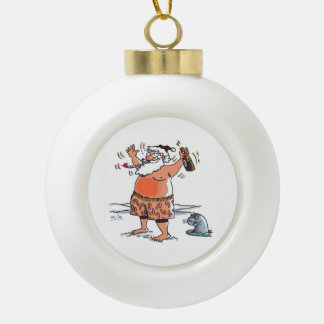 Drunk Santa Christmas ball Ceramic Ball Christmas Ornament