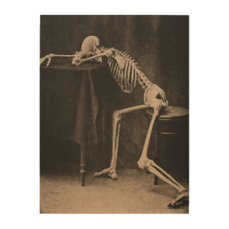 Drunk Skeleton Wood Print