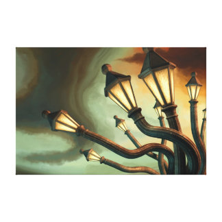 Drunk Streetlamps Gallery Wrapped Canvas