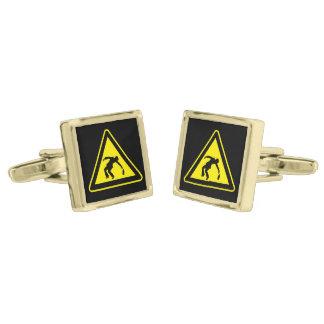 Drunken danger marker gold finish cuff links