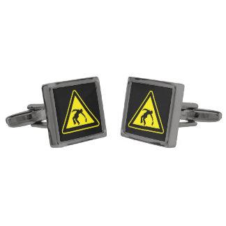 Drunken danger marker gunmetal finish cufflinks