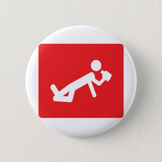 drunken man icon 6 cm round badge