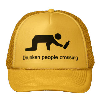 Drunken people crossing ⚠ Thai Sign ⚠ Cap