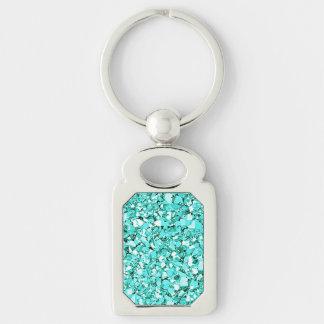 Druzy crystal - aquamarine blue key ring