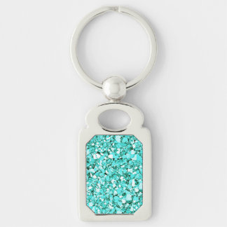 Druzy crystal - aquamarine blue Silver-Colored rectangle key ring