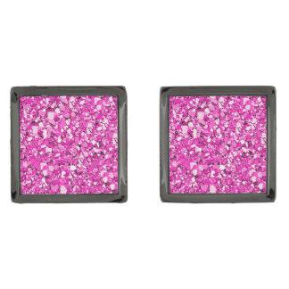 Druzy crystal - fuchsia pink gunmetal finish cufflinks