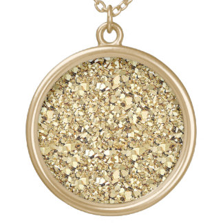 Druzy crystal glitter - metallic gold personalized necklace