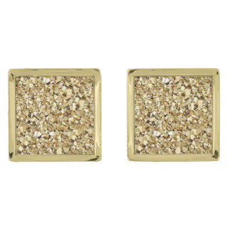 Druzy crystal - metallic gold color gold finish cuff links
