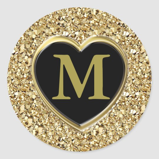 Druzy crystal monogram - metallic gold classic round sticker