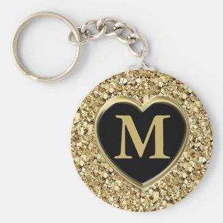 Druzy crystal monogram - metallic gold key ring