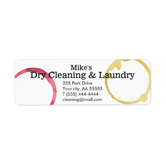 Dry Cleaning laundry stains wine coffee business Return Address Label