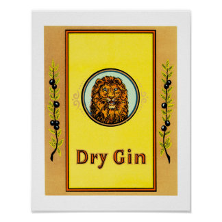 Dry Gin Lion Poster