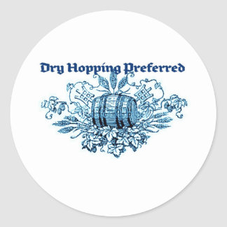 DRY HOPPING PREFERRED VINTAGE BEER KEG PRINT (BLUE ROUND STICKER