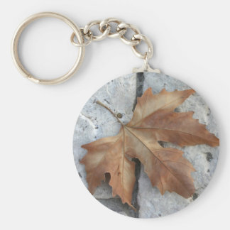 Dry maple leaf basic round button key ring