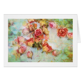 Dry roses on green vintage note card