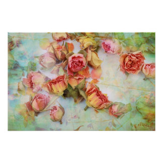 Dry roses on green vintage poster