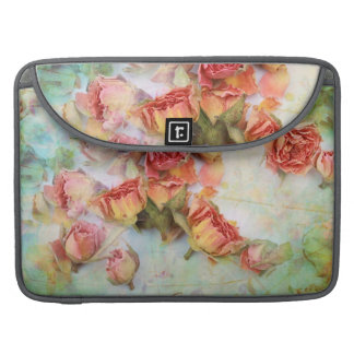 Dry roses on green vintage sleeve for MacBook pro