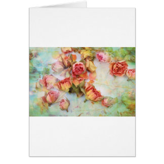 Dry roses vintage design greeting card