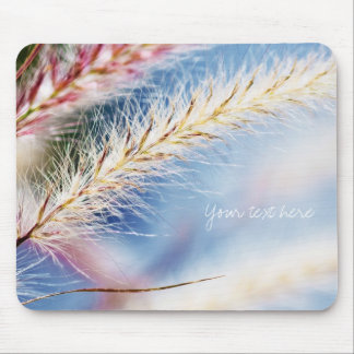 Dry spikelets on blue mouse pad