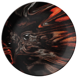 DRYAD AFLAME Surreal Tree Witch Custom Porcelain Plate