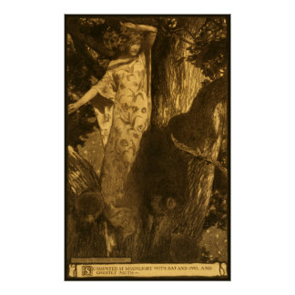 Dryad Girl Standing by Tree In Haunted Moonlight Poster