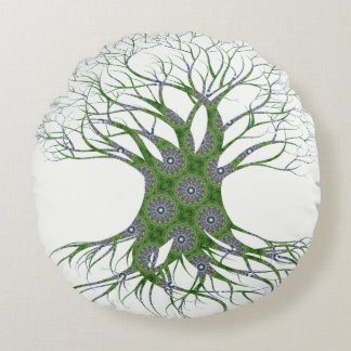Dryad Tree (green) Round Cushion