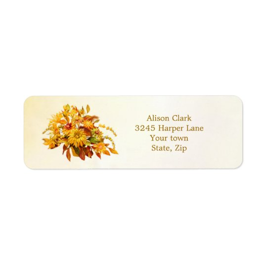 Dryed autumn leaves and flowers Label
