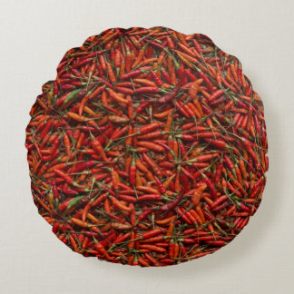 Drying Red Hot Chili Peppers Round Cushion