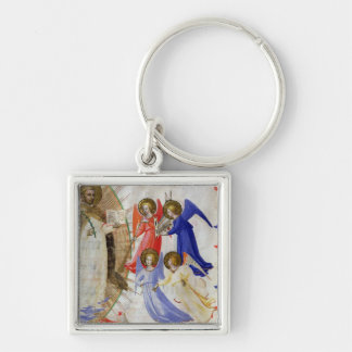 ds 558 f.67v St. Dominic with four musical angels, Silver-Colored Square Key Ring