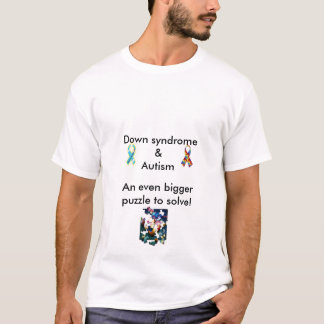 DS & Autism Dual Bigger Puzzle Tee/Blank Back T-Shirt
