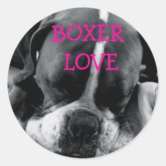 DSC00168, BOXER  LOVE CLASSIC ROUND STICKER