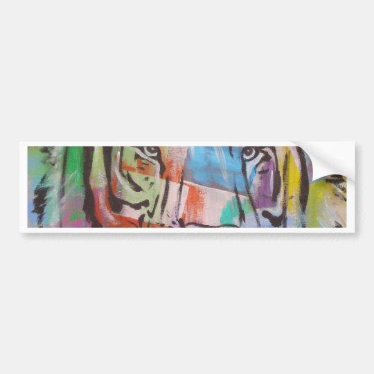 DSC00414.jpg Bright Colourful Tiger face Bumper Sticker