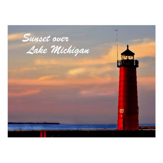 DSC_0036sm_edited-1, Sunset over, Lake Michigan Postcard
