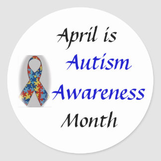 DSC_0555, Autism Awareness, April is, Month Round Sticker