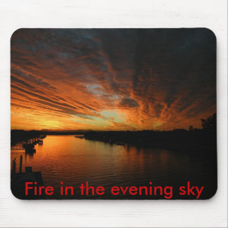 DSCF1678, Fire in the evening sky Mouse Pad