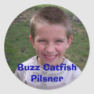 DSCN0164, Buzz Catfish Pilsner Round Sticker