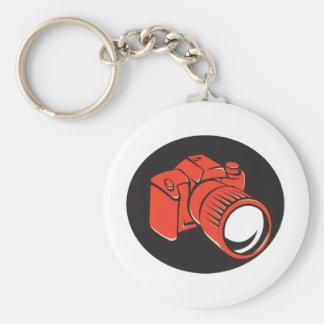 DSLR digital camera front retro Basic Round Button Key Ring